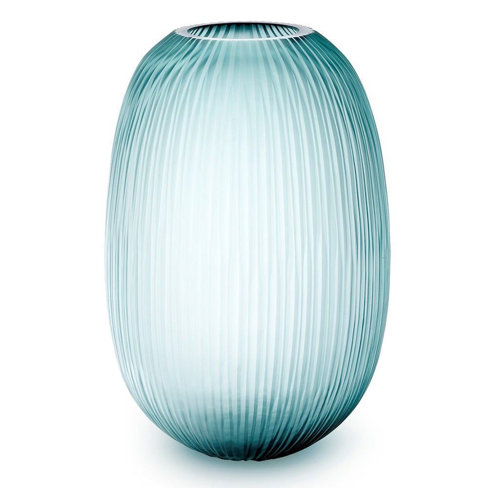 Bungalow 5 Large Hand Cut Ridged Glass Vase – Grey Blue