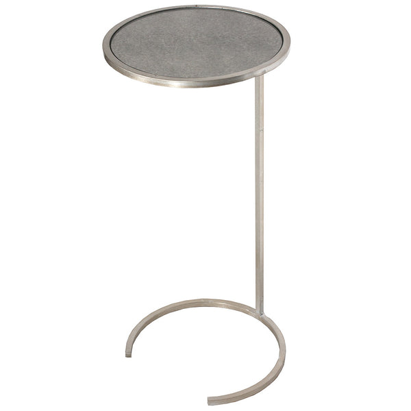 Worlds Away Antique Mirror Cigar Table with Single Ring – Silver Leaf