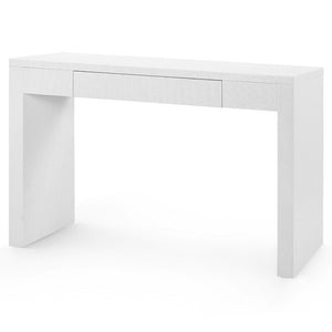 Bungalow 5 Lacquered Grasscloth Console Table with Drawer – White