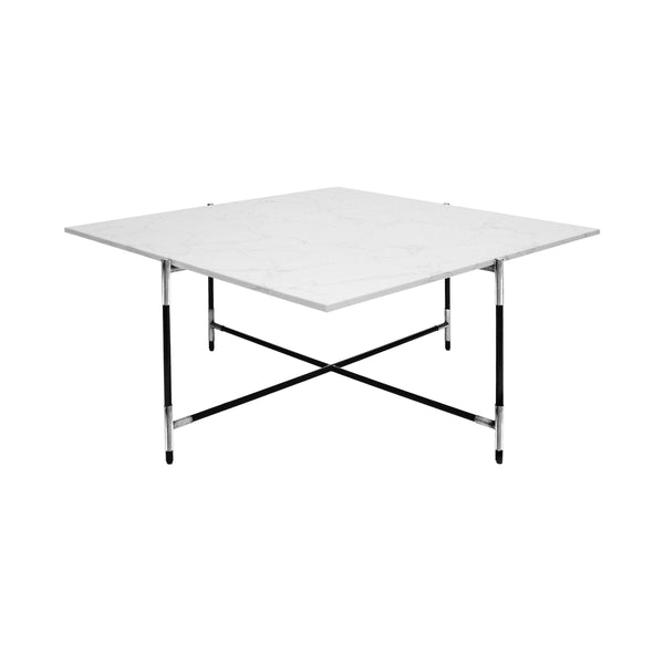 Worlds Away Square Coffee Table with Marble Top - Black & Nickel Frame