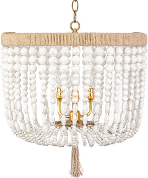 "18"" Malibu Beaded Chandelier – White Swirl Beads"