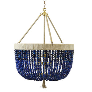 "24"" Malibu Beaded Chandelier with Arms – Navy Agate Beads"