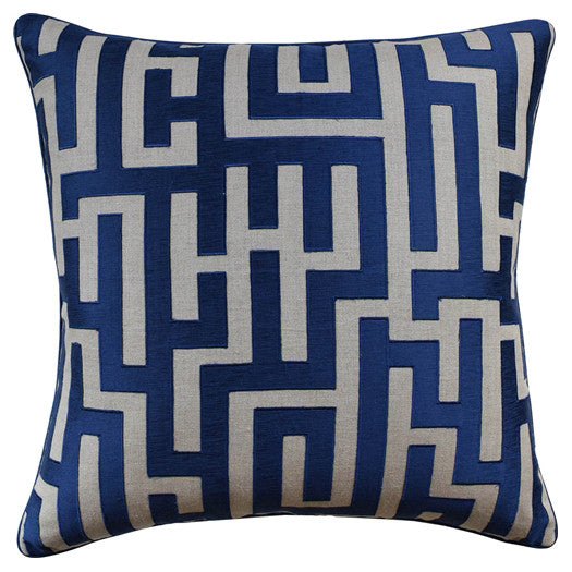 Maze Embroidered Pillow – Blue