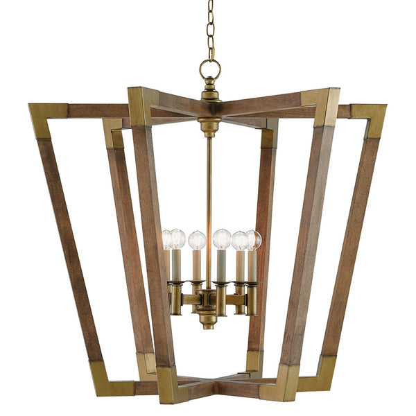 Mid Century Chandelier – Wood & Brass