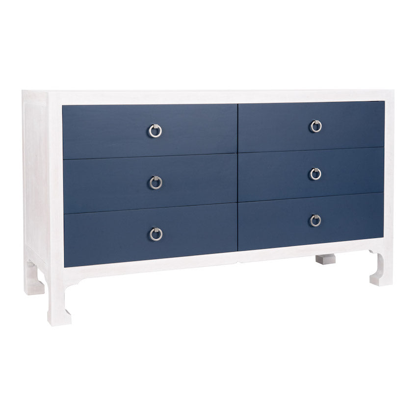 Morris 6-Drawer Dresser - White Wash & Blue (25 Finish Options )