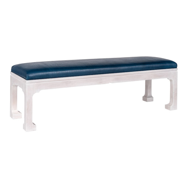 Morris Upholstered Bench - White Wash & Blue Leather (25 Finish Options )