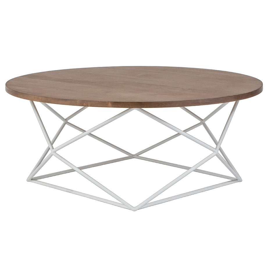 "Myles 36"" Round Coffee Table - Almond (23 Finish & 4 Metal Options)"