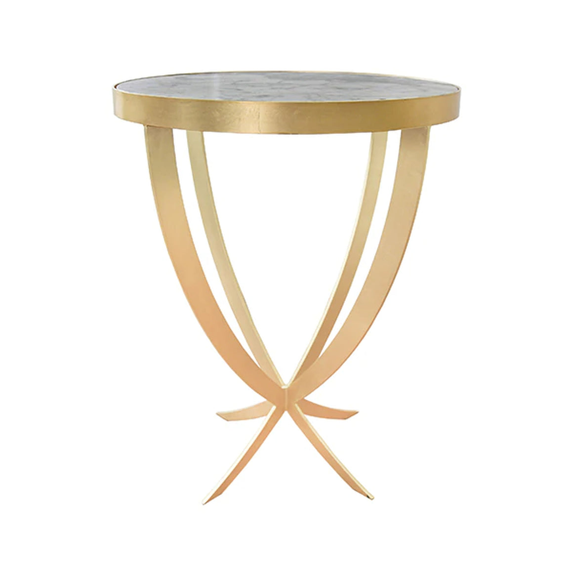 Worlds Away Round Marble Top Side Table - Gold Leaf