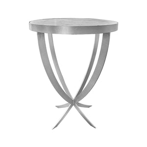 Worlds Away Round Marble Top Side Table - Silver Leaf