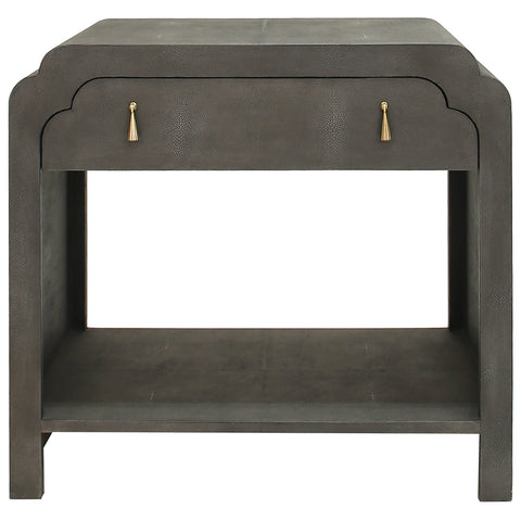 Worlds Away 1-Drawer Scalloped Edge Side Table – Dark Grey Faux Shagreen
