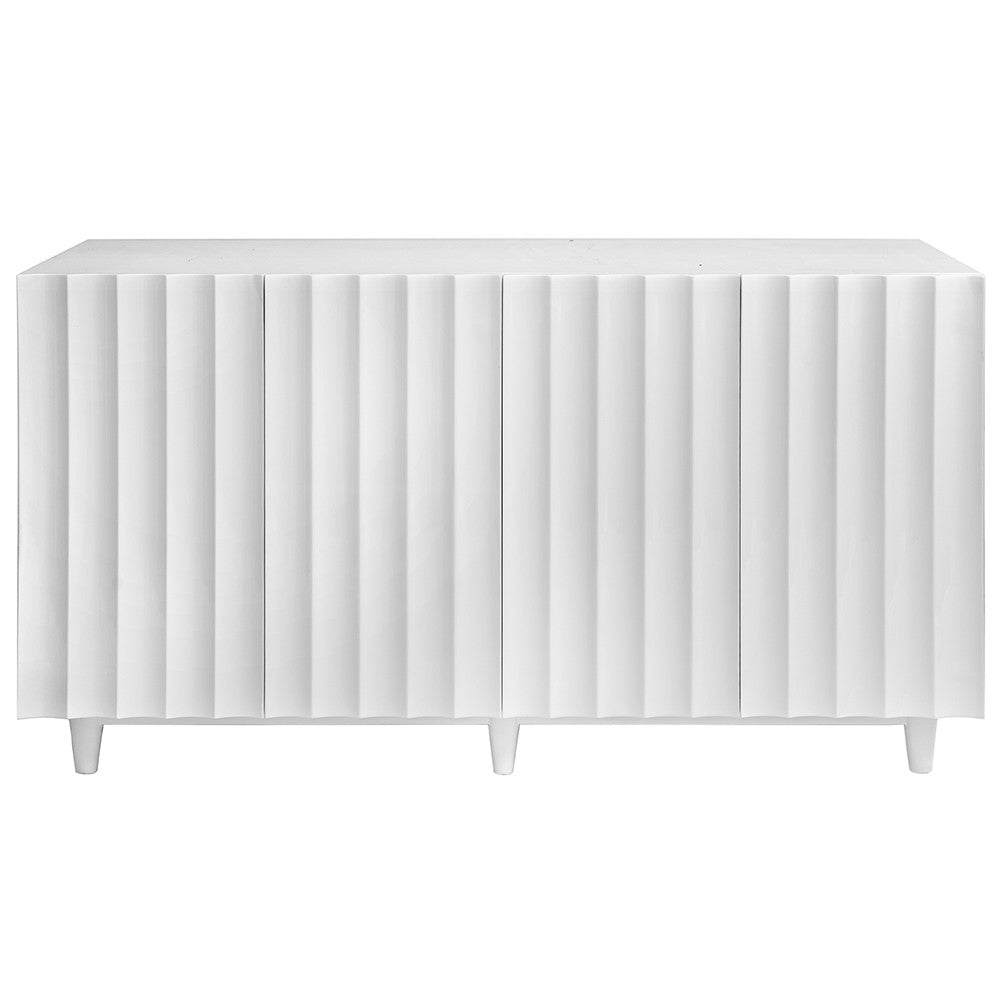 Worlds Away Lacquer Four Door Cabinet U2013 White