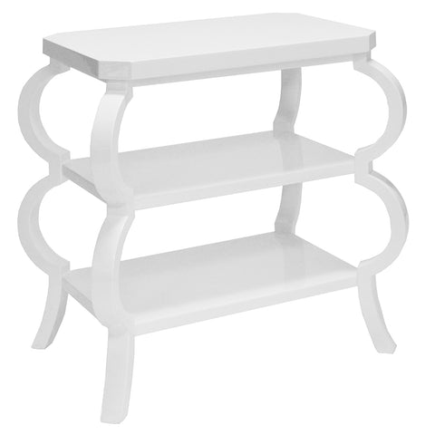Worlds Away 3-Tier Side Table with Curved Legs  – White Lacquer