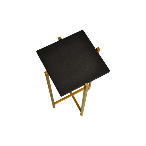World's Away Antique Brass Cigar Table With Black Shagreen Square Top