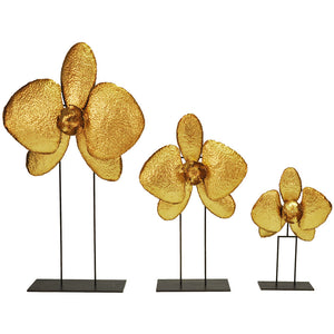 Worlds Away Small Handmade Orchid Sculpture – Gold Leaf