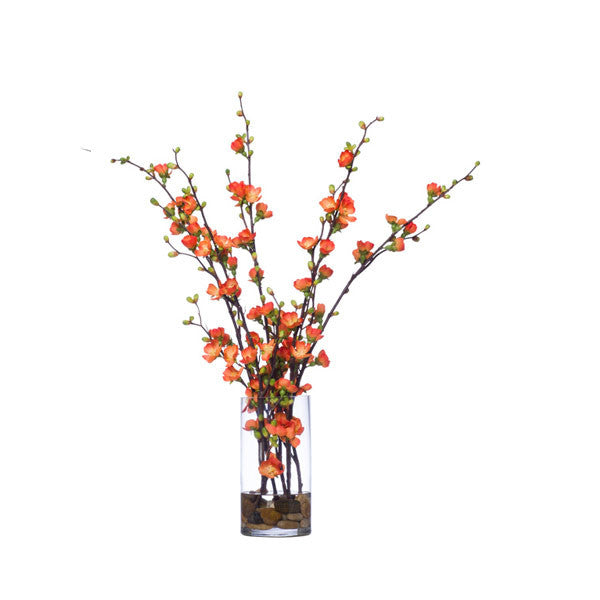 Orange Silk Floral Branches in Clear Vase