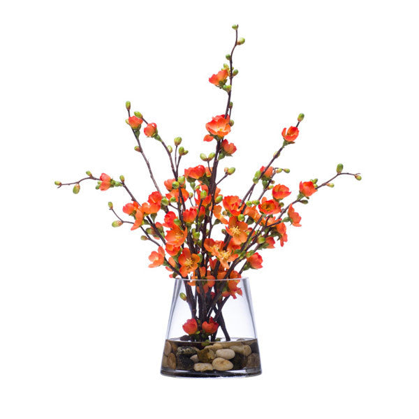 Orange Silk Floral Branch in Clear Vase
