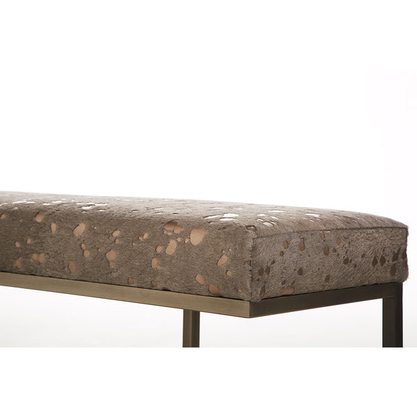 Metallic Hide Bench – Taupe & Copper