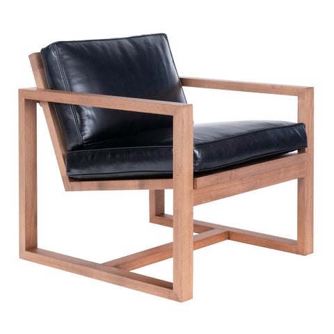 Oxford Modern Accent Chair - Almond & Black Leather