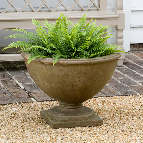 Round Footed Stone Planter - Aged Limestone Patina