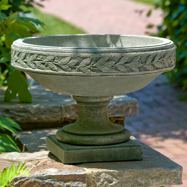Banded Footed Stone Planter - Grey Patina