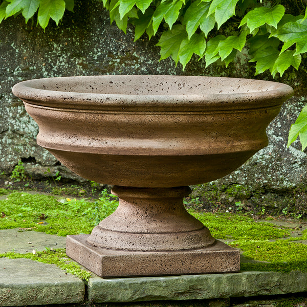 Footed Urn Stone Planter - Light Rust Patina