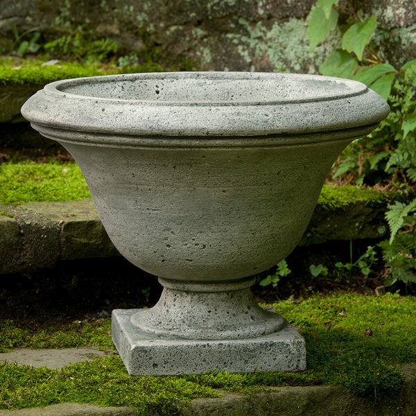 Round Footed Stone Planter - Grey Patina