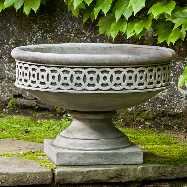 Low Fretwork Urn Planter - Grey Patina