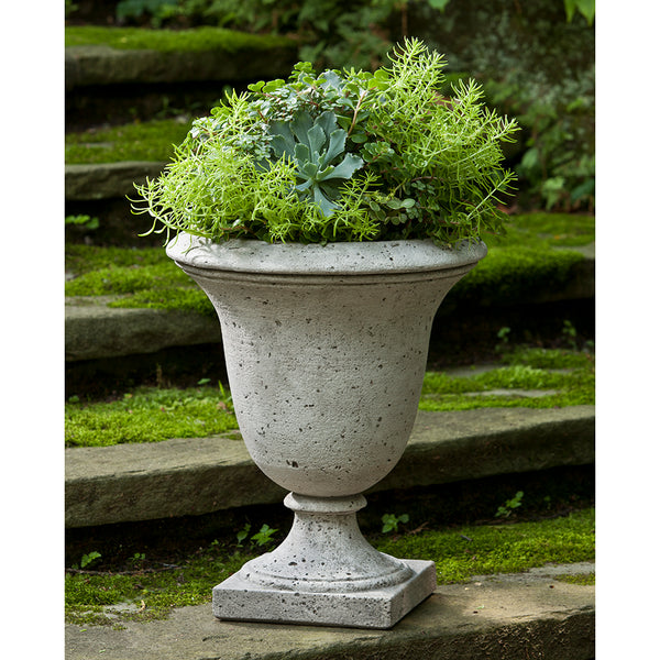 Tall Footed Stone Planter - Grey Patina