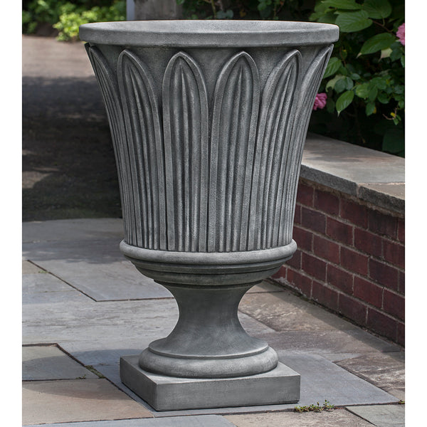 Palm Detail Footed Stone Planter - Grey Patina