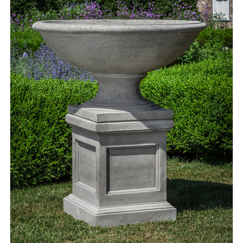 Large Footed Urn Stone Planter - Grey Patina