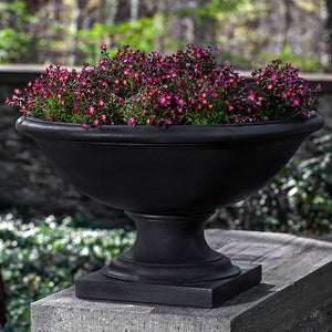Low Footed Stone Planter - Dark Nero Nuovo Patina