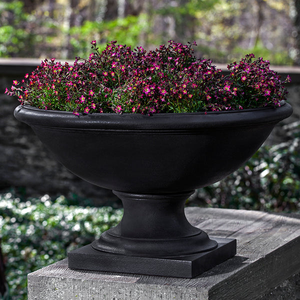 Low Footed Stone Planter - Dark Brown Patina