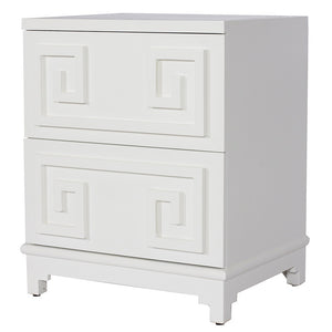 Worlds Away Two Drawer Greek Key Nightstand – White Lacquer