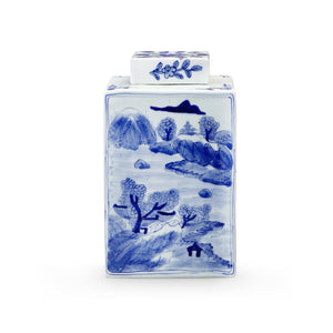 Bunglow 5 PEONY SQUARE JAR, BLUE & WHITE
