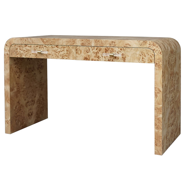 Worlds Away Waterfall Edge 2-Drawer Desk – Burl Wood