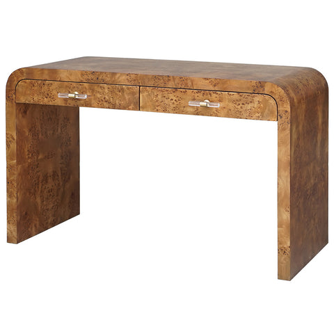 Worlds Away Waterfall Edge 2-Drawer Desk – Dark Burl Wood