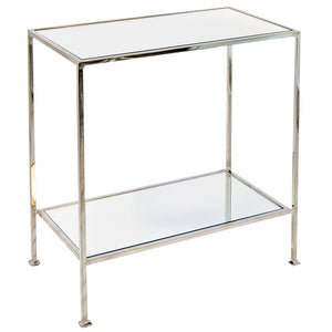 Worlds Away Plano Simplicity Side Table with Mirror Tops- Nickel Plated