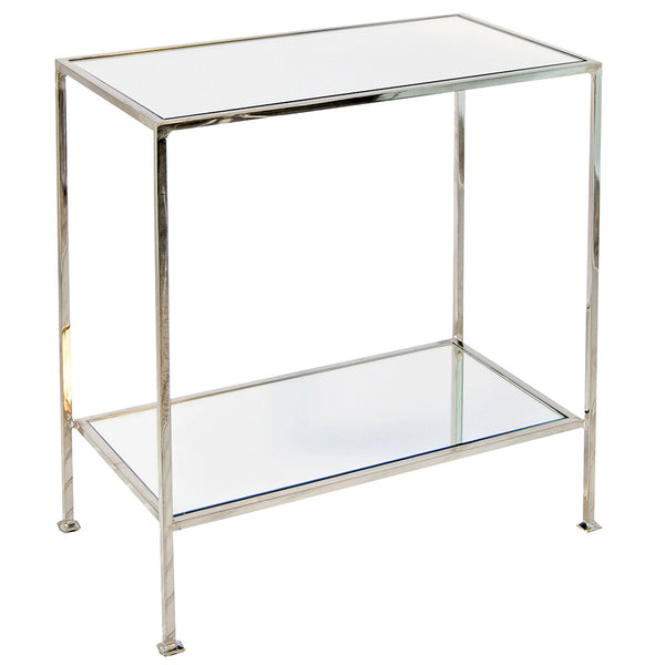 Worlds Away Simplicity Side Table with Mirror Tops- Nickel Plated