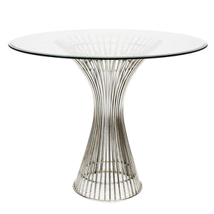 Worlds Away Hourglass Table with Round Glass Top - Stainless Steel