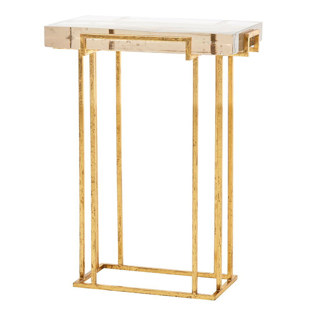 Bungalow 5 Glam Gold Leafed Side Table with Thick Cast Glass Top