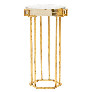 Bungalow 5 Glam Gold Leafed Round Side Table with Thick Cast Glass Top