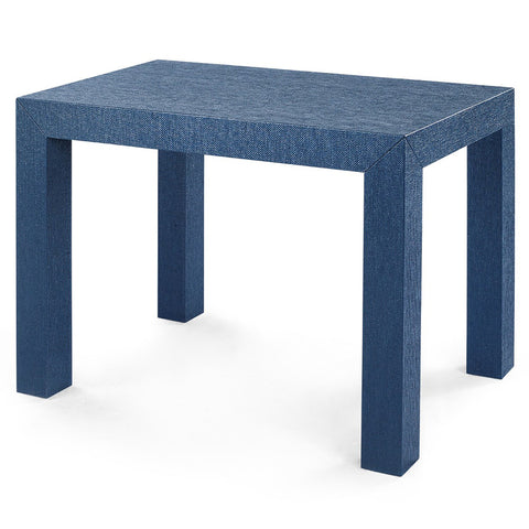 Bungalow 5 Lacquered Grasscloth Parsons Accent Table – Navy Blue