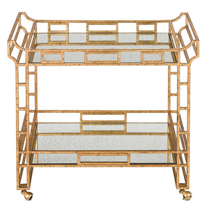 Currey and Company Pagoda Bar Cart – Gold Leaf