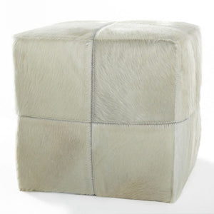 Patchwork Cube Ottoman – Cream Cowhide