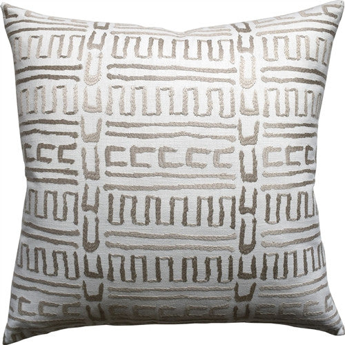Primitive Geometric Pattern Pillow – Ivory