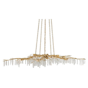 Currey and Company Quartz Branch Chandelier – Distressed Gold
