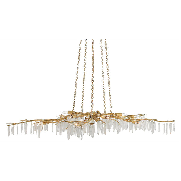 Quartz Branch Chandelier – Distressed Gold