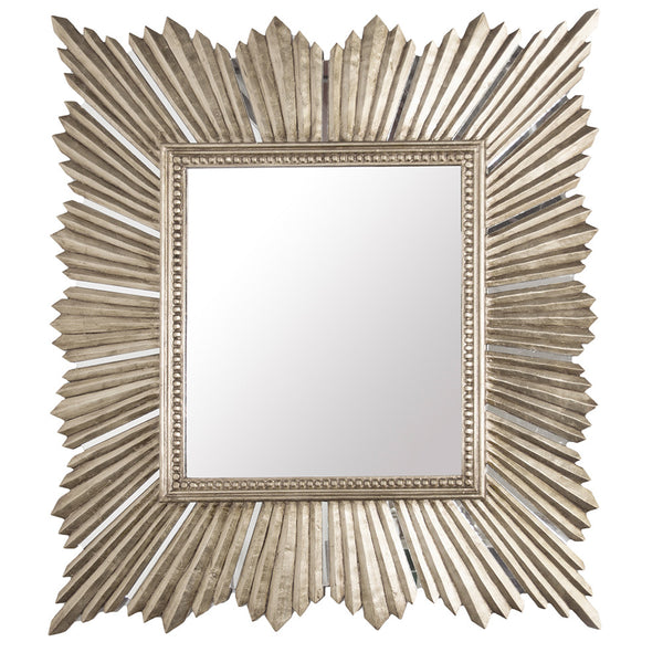 Extra Large Square Starburst Mirror – Silver Leaf