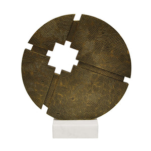 Worlds Away Abstract Round Sculpture on Marble Base – Antique Brass