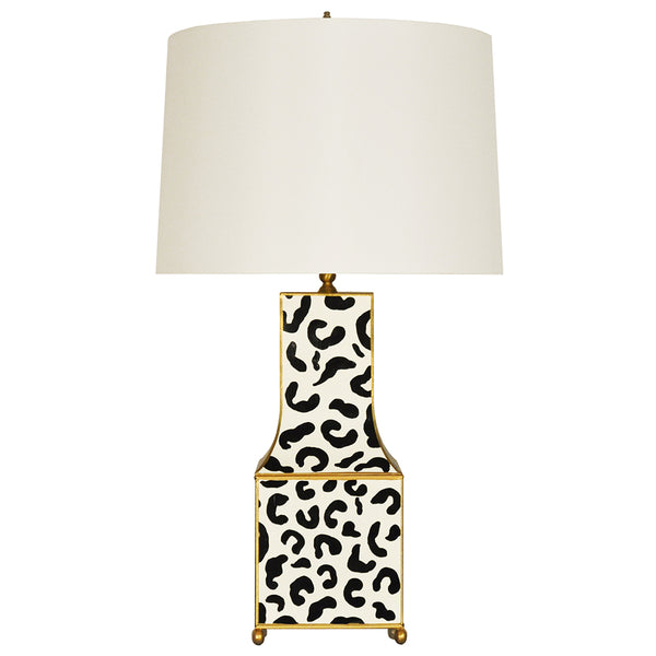 Worlds Away Handpainted Pagoda Table Lamp with Gold Trim – Black Leopard